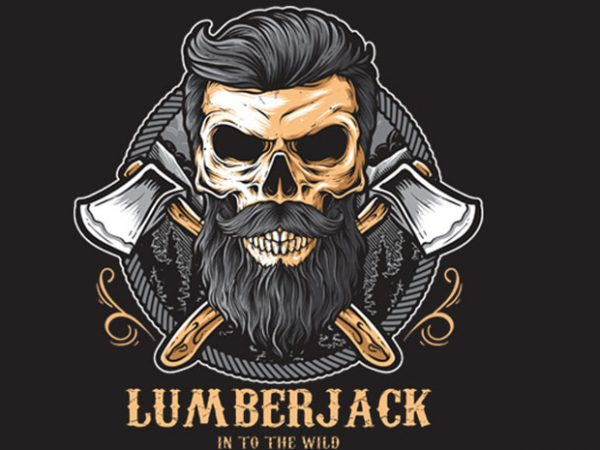Skull Lumberjack vector t shirt design for download