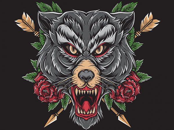 wolf tattoo graphic t-shirt design