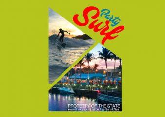 Surf Party print ready t shirt design
