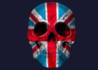 Skull London t shirt template vector