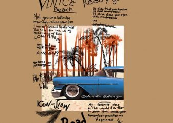 Classic Beach Venice t shirt vector file