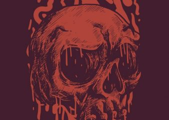 Red Head Skull vector t shirt design for download