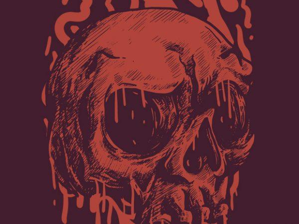 Red Head Skull vector t shirt design for download