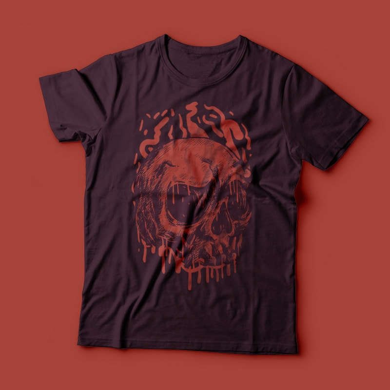 Red Head Skull t shirt designs for print on demand