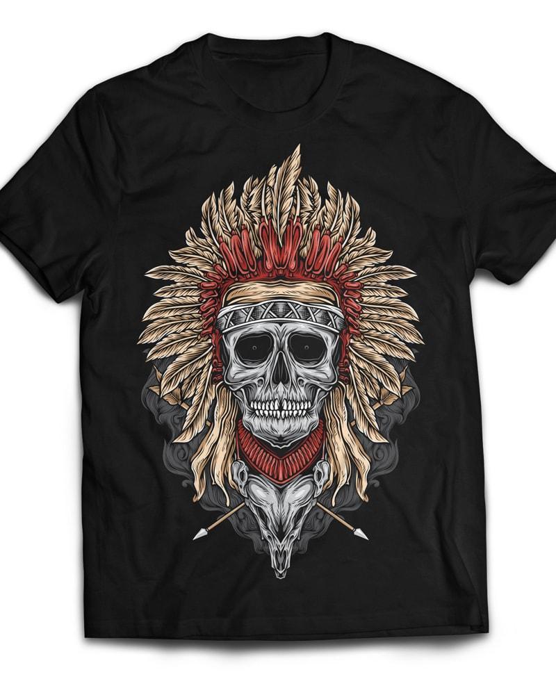 Native Skull t shirt designs for teespring